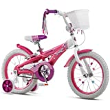"""16"""" Schwinn Twilight Bike for Girls Ages 4 to 8, Pink and White with White basket and Training Wheels"""