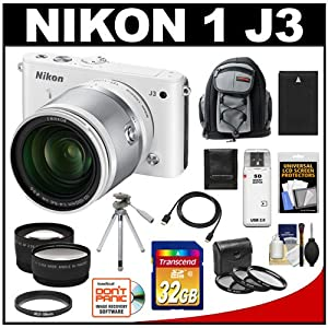Nikon 1 J3 Digital Camera Body with 10-100mm VR Lens (White) with 32GB Card + Battery + Backpack + Filters + Tripod + Telephoto & Wide-Angle Lenses + Accessory Kit