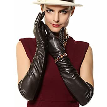 "WARMEN Super Long 22"" Women Genuine Soft Nappa Leather Opera Gloves (M, Dark Brown)"