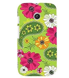 Printvisa Green And Pink Floral Pattern Back Case Cover for Motorola Moto E XT1021::Motorola Moto E (1st Gen)