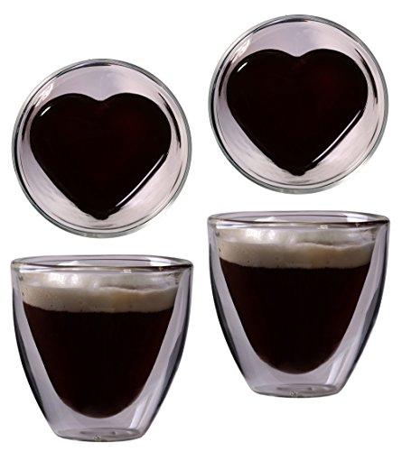 """2x 80ml doppelwandiges Herzform-Espressoglas, edle Thermogläser mit Schwebeeffekt, """"Celissimo"""" von Feelino"""