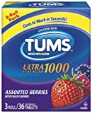Tums Ultra 1000 Maximum Strength Antacid Tablets, Assorted Berries, 3 Rolls/Pack, 9 ea