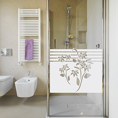Sichtschutzdekor Duschtür Dusche Milchglasfolie für Badezimmer Blumen Blüten (80x57cm)