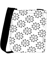 Snoogg Grey Floral White Designer Womens Carry Around Cross Body Tote Handbag Sling Bags - B01I1IPQYW