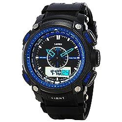 Skmei Black & Blue dial Lcd Analog - Digital watch for Men - AD0910