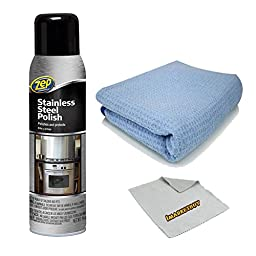 Zep Commercial 14 oz Stainless Steel Cleaner Polish + Microfiber All Purpose Cleaning Cloth.
