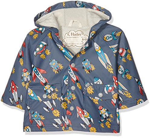 Hatley Baby-Jungen Regenmantel Infant Raincoat-Retro Rockets, Grau-Grau, 86