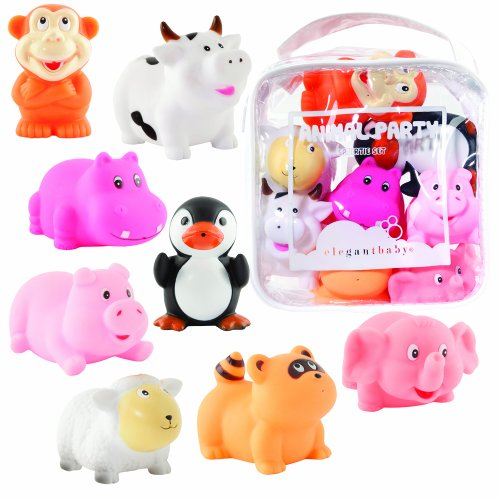 Elegant Baby 8 Piece Bath Squirties Gift Set in Vinyl Zip Bag - Animal