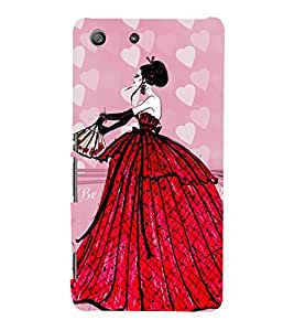 ANIMATED GLAMOROUS GIRL IN A RED GOWN 3D Hard Polycarbonate Designer Back Case Cover for Sony Xperia SP :: Sony Xperia SP M35h