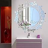 Art Fée volante Fée Clochette Miroir mural rond avec étoiles sticker mural amovible en vinyle autocollant mural Stickers Décoration DIY bains Décor...