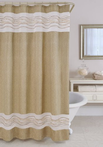 rainwave taupe luxury fabric shower curtain with embroidered sheer white stripes by home wear
