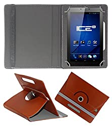 ACM ROTATING 360° LEATHER FLIP CASE FOR ICE SPECTRA PLUS + 3G TABLET STAND COVER HOLDER BROWN