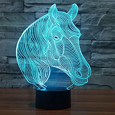 Horse Head 3D Led Lamp , YKL World Amazing Optical Illusions 7 Changing Colors Acrylic Touch Table Desk LED Night Light with 150cm USB Cable- Great Gifts