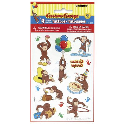Curious George Party Tattoo Sheets - 1
