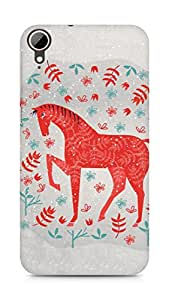 Amez designer printed 3d premium high quality back case cover for HTC Desire 828 (The red horse)