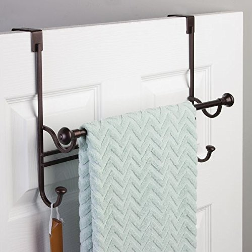 Mdesign Bathroom Over Shower Door Towel Bar Rack With Hooks Bronze Home Garden Accessories