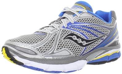 Saucony Men's Hurricane 15 Running Shoe,Silver/Blue/Yellow,8 M US