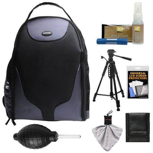 Bower SCB1350 Photo Pack Backpack Digital SLR Camera Case (Black) + Tripod + Kit for Nikon D3100, D3200, D3300, D5100, D5200, D5300, D7000, D7100 DSLR Cameras