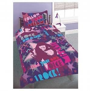 ensemble de literie de fantaisie camp rock pour enfants housse de couette et taie d 39 oreiller. Black Bedroom Furniture Sets. Home Design Ideas