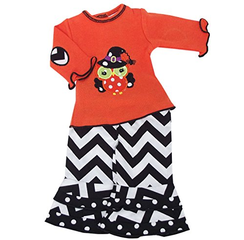 [AnnLoren Black & Orange Halloween Owl Doll Outfit Fits American Girl] (Barbie Halloween Outfit)