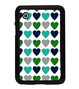 Fuson Premium 2D Back Case Cover Coloured Hearts With Black Background Degined For Samsung Galaxy Tab 2 P3100