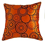 "That's Perfect! Circular Harmony Decorative Silk Throw Pillow Sham - Fits 18"" x 18"" Insert (Orange)"