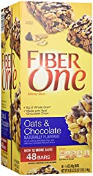 Fiber One Chewy Bars, Oats/Chocolate, 48 Count