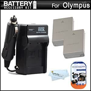 2 Pack Battery And Charger Kit For Olympus OM-D E-M5 Digital Camera Includes 2 Extended Replacement (1500Mah) BLN-1 Batteries + Ac/Dc Rapid Travel Charger + LCD Screen Protectors + MicroFiber Cleaning Cloth