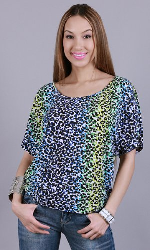 SITTACENE Leopard Print Batwing Slouchy Tee Blue