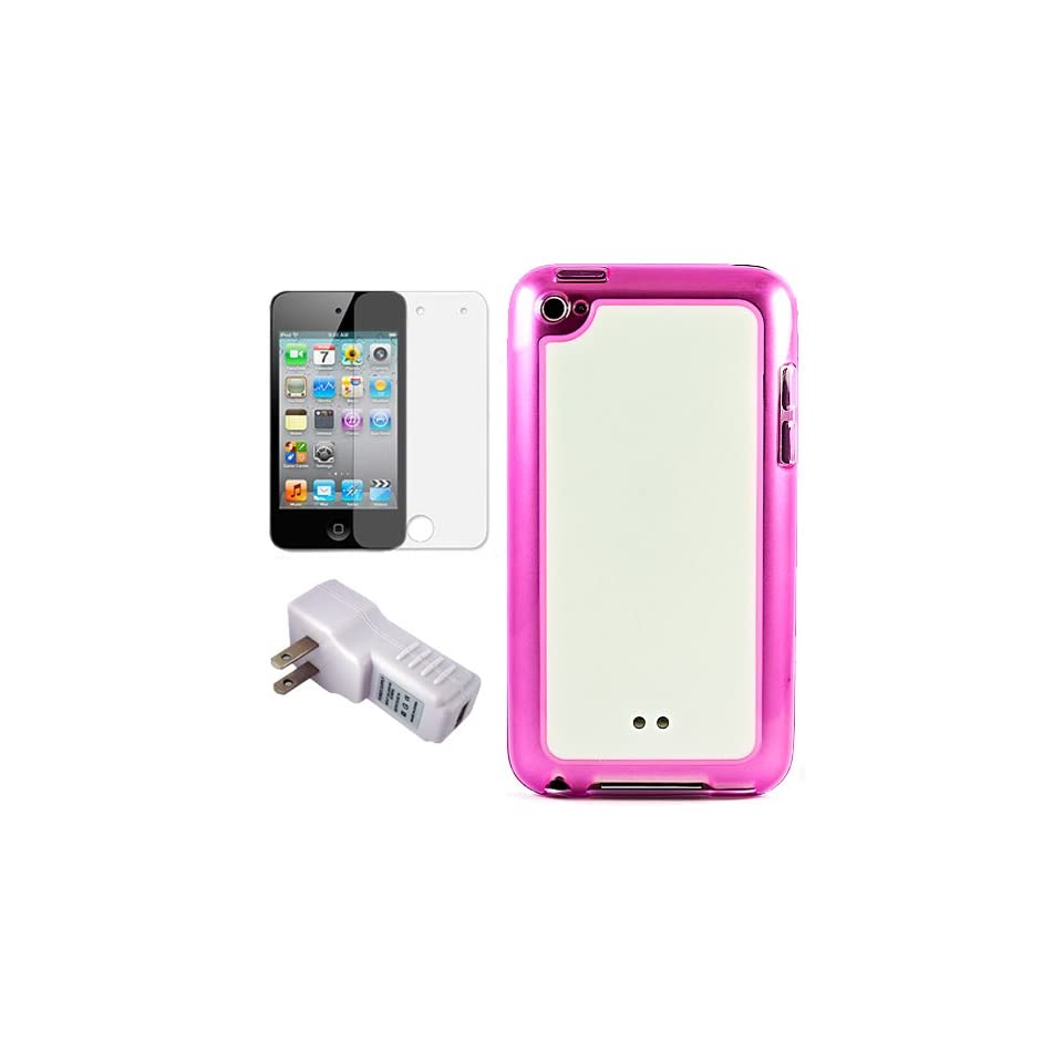 Pink with White Premium Rubberized Hard Crystal TPU Silicone Skin Cover Case for Apple iPod Touch 4th Generation (8GB, 16GB, 32GB, 64GB) + Clear Screen Protector for iPod Touch 4th Generation LCD Display Screen + USB Travel Wall Charger with LED Power Indi