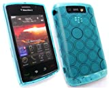 EMARTBUY BLACKBERRY 9520 STORM 2 CIRCLE PATTERN SILICON GEL SKIN COVER/CASE BLUE + SCREEN PROTECTOR
