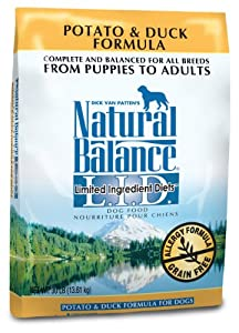 Natural Balance Dry Dog Food, Grain Free Limited Ingredient Diet Duck and Potato Formula, 28 Pound Bag