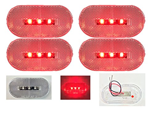 """4 New 4""""X2"""" Oblong Clear Red Led Surface Mount Clearance Marker Lights El-114303Cr"""