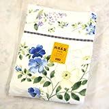 大きな花柄の今治タオルケット ジャガード織 厚手タオルケット ブルー 日本製