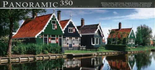 Panoramic 350 Piece Puzzle Houses Along the Canal, Zaanse Schans, Netherlands - 1