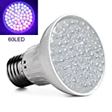 Enjoydeal Ultra Bright E27 UV Ultraviolet 60-LEDs Lamp Bulb 110V, Purple Red Color Light for Landscape Grow