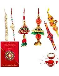 Ethnic Rakhi Designer Floral Pattern Multi-Color Fashionable And Stylish Mauli Thread And Beads Rakhi Set Of 6... - B01IIMELNS
