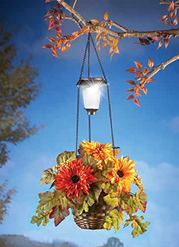 Solar Hanging Autumn Mum Basket