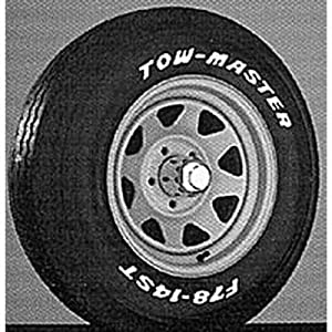 Towmaster TO8624RW Trailer Tire And Wheel Asmbly, White Finish Rim w/ T0862 Black Sidewall Tire5.70-8