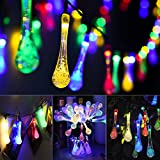 [50LED,6.87M] Solar Fairy Lights, Mpow Water Drops Solar String Lights Waterproof Christmas Lights Solar Powered Fairy lights for Garden, Patio, Yard, Home, Christmas Tree, Parties (8 Modes,Multi Color)