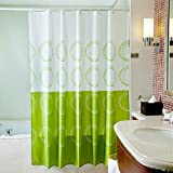 Fashion Style White and Green Mouldproof Shower Curtain, 72*72 inches, with 12 Hooks