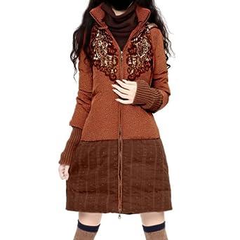Artka Women's Thermal 90% Duck Down Embroidery Down Jacket, Orange, L