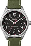 Timex Originals Unisex Quartz Watch with Black Dial Analogue Display and Green Leather Strap T2N349ZB