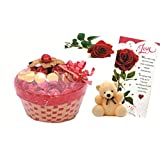 Skylofts Lovely Chocolate Basket With A Cute Teddy ,a Love Card & A Rose