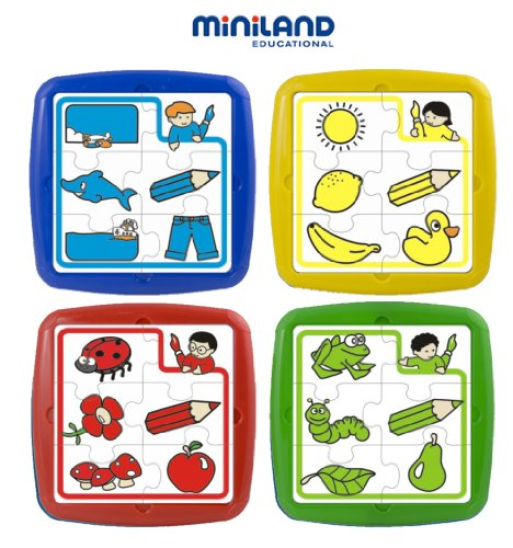 Miniland Set of 4 Plastic Puzzles - Colors
