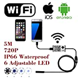 WiFi-Wireless-Digital-Endoscope-Borescope-Snake-Inspection-Camera-System-for-iphone-iOS-ipad-Samsung-Android-Smartphone-Cellphone-with-6-led-light-9mm-2-Megapixels-720P-HD-IP66-Waterproof-5M