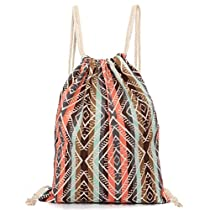 Leoy88 Drawstring Backpack Retro Geometric Canvas Sack Bag (Khaki)