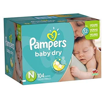 Pampers Baby Dry Diapers (Size N, Newborn to 10lbs, Pack of 104)