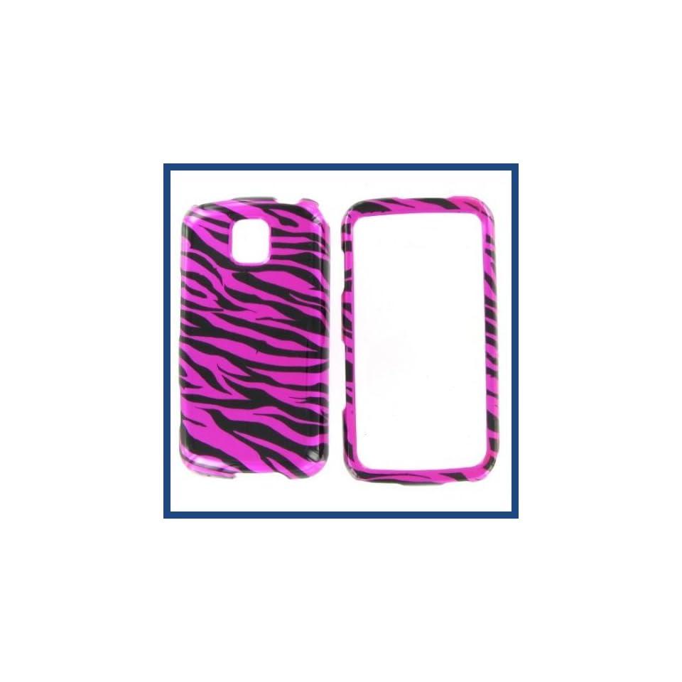LG MS690 Optimus M Zebra on Hot Pink Hot Pink/Black Protective Case