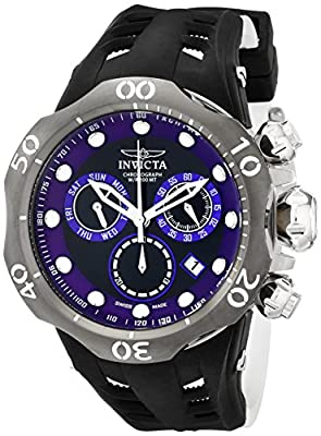 Invicta Men's 16995 Venom Analog Display Swiss Quartz Black and Purple Dial Black and White Silicone Strap Watch